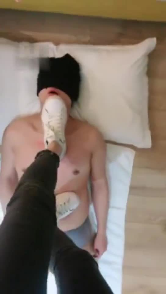 Little white shoes trains a bitch deep throat