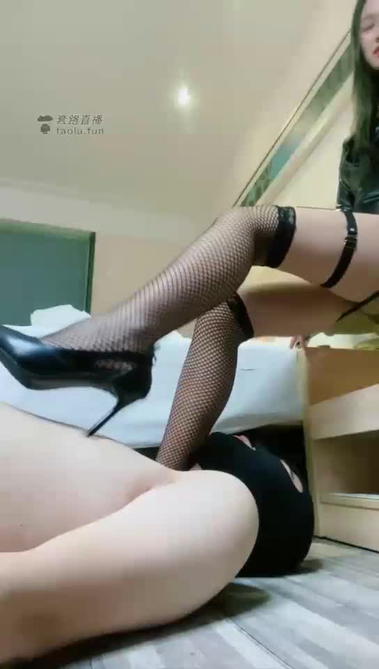 Slap, step on, lick shoes, fishnet stockings