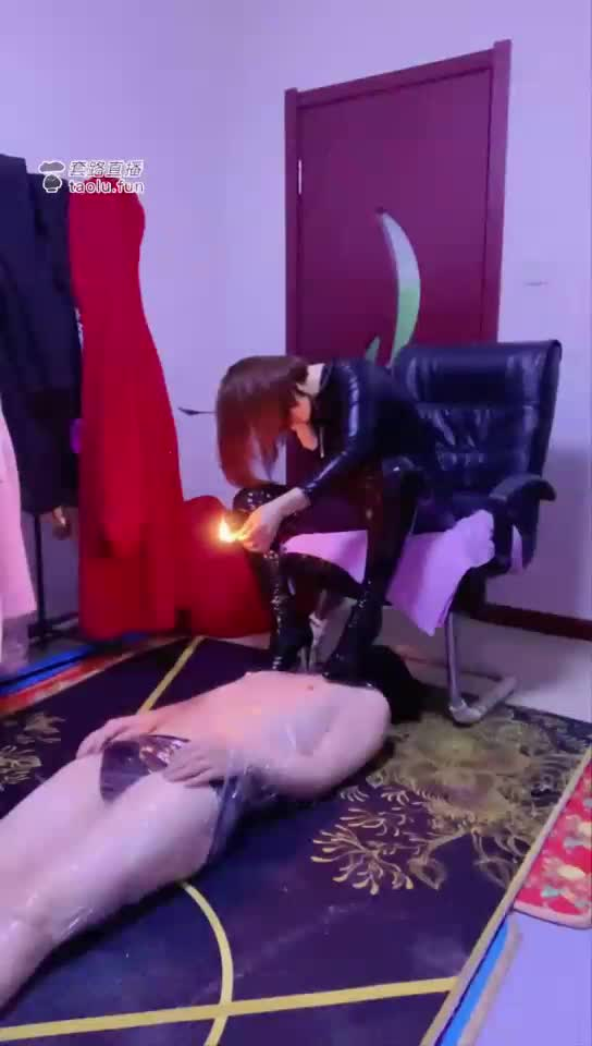 Big leather boots queen cruelly abused dog