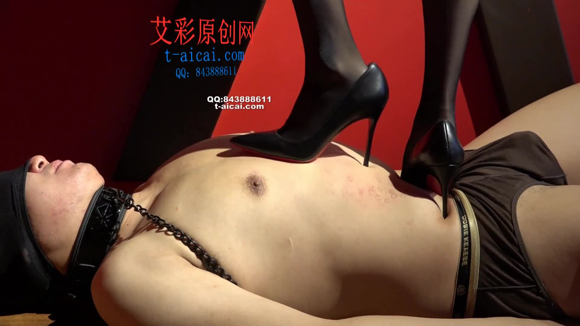 Black silk, high heels, cruel trampling, training, sharing