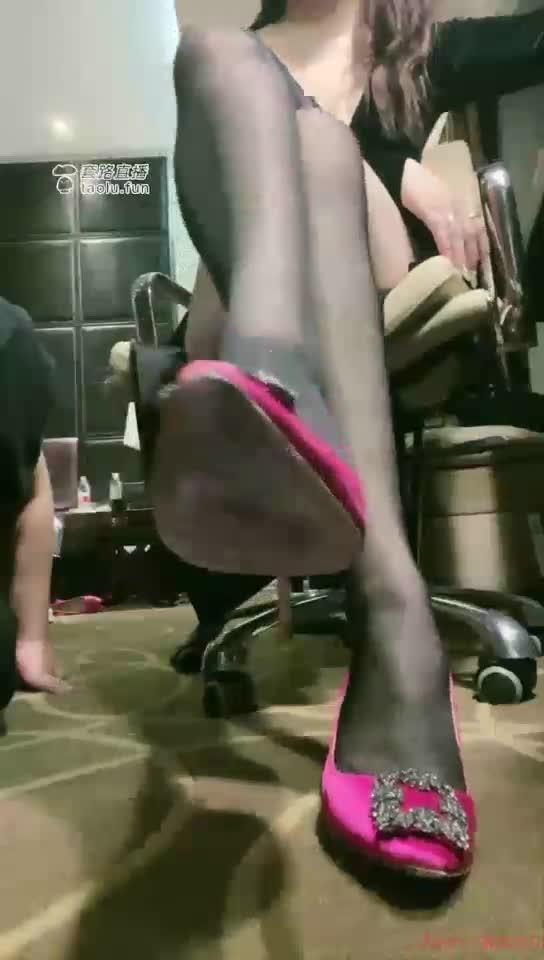 First perspective black silk high heels