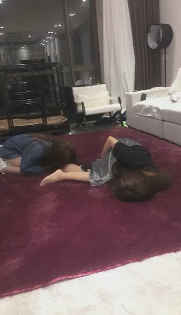 Sharing with friends, two sisters, while playing with slave girls