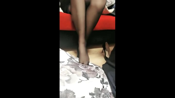 Sharing with friends, training male foot slaves, black silk, foul language, slapped