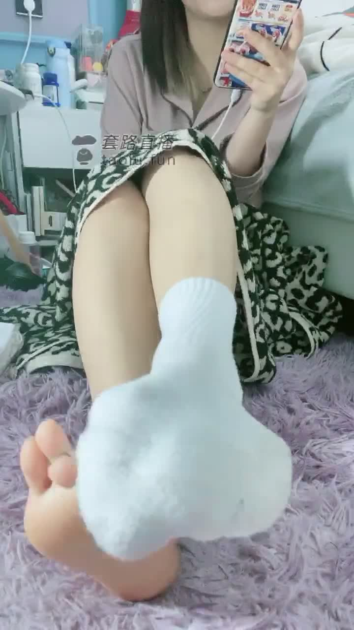 First perspective, bare foot stockings, three squeezing