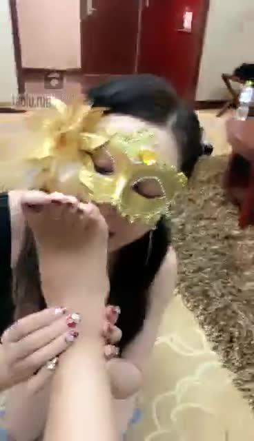 Female slave, trampling, foot licking, ass licking, dog walking
