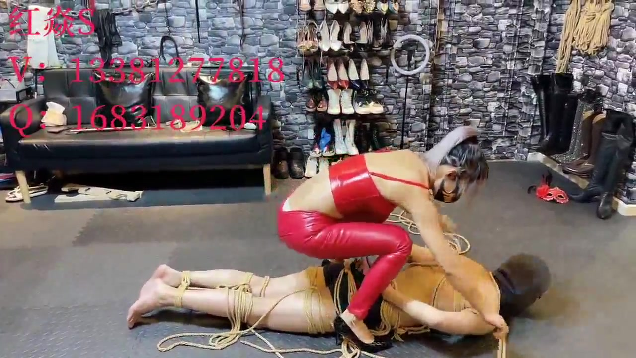 While licking his feet, he was beaten and finally tied up, suspended and beaten