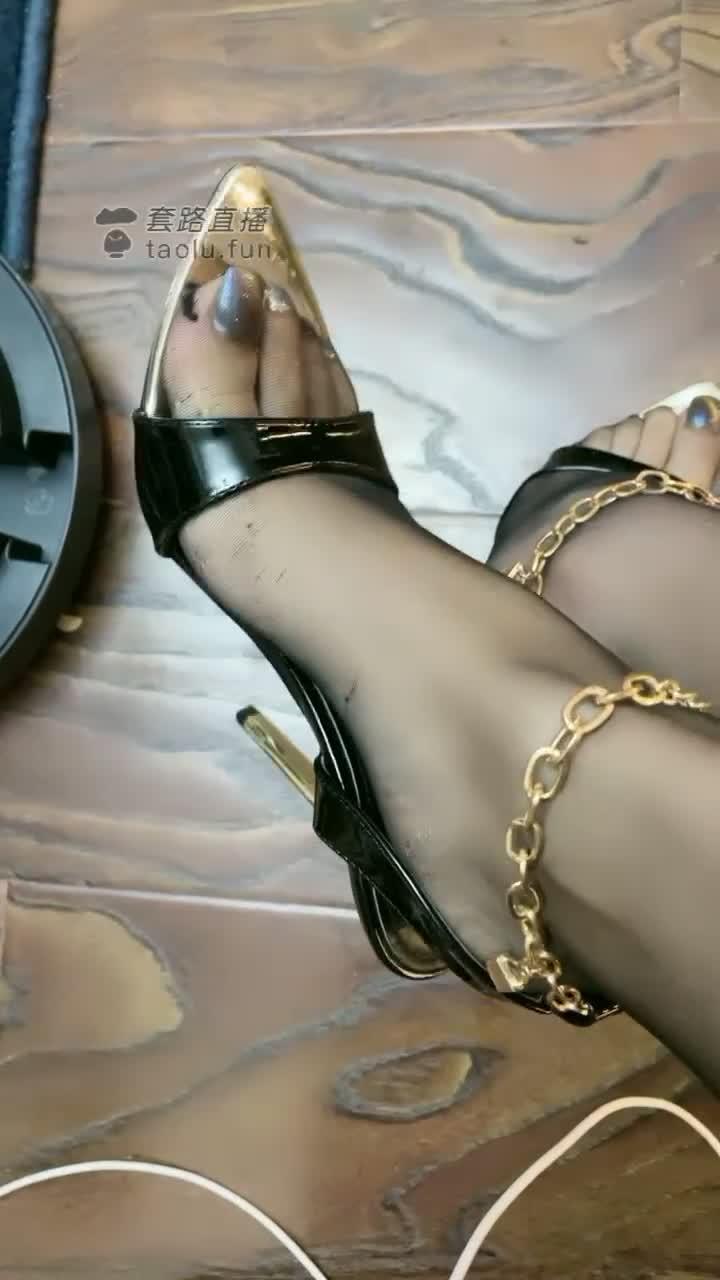 Body black silk, bare feet, whipping, saliva training