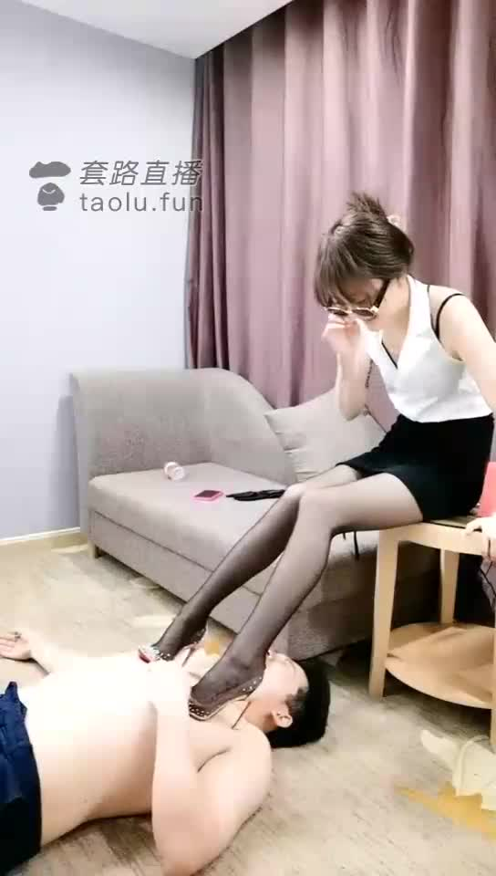 Red-soled shoes, stiletto stockings, trampling on breasts