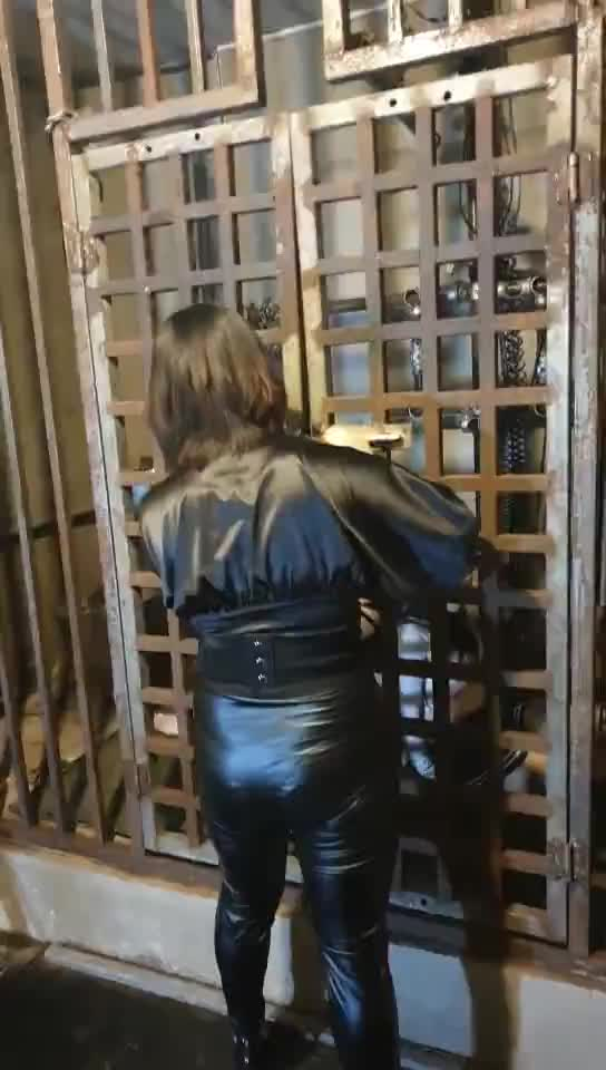 Iron cage, gag, anklet training two female slaves