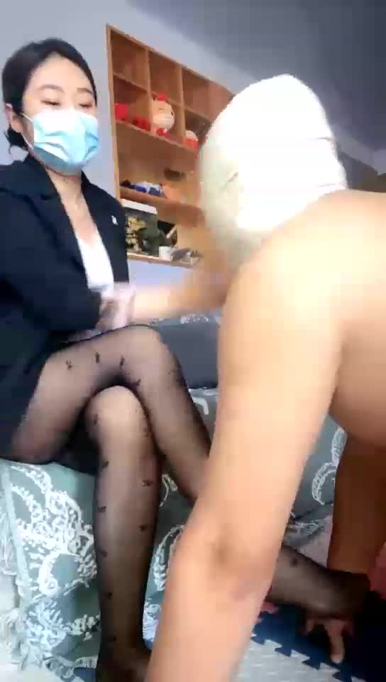 Deep throat, feet, severe slap, black silk