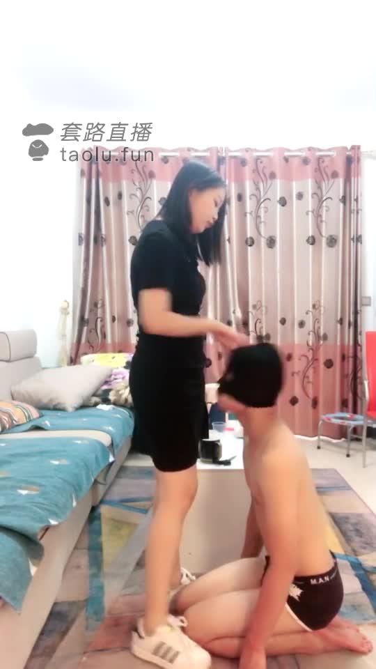 Femdom slapped slave