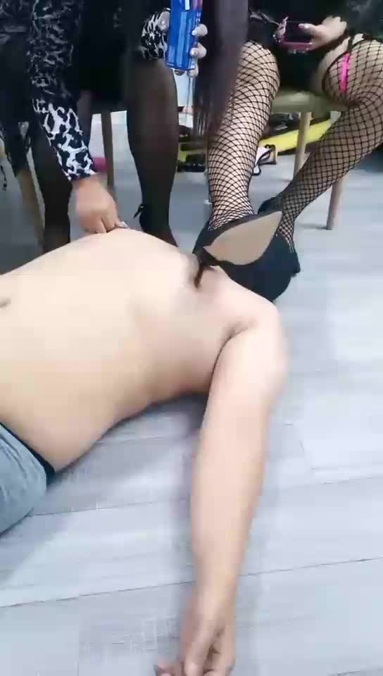 Double master playing with dogs, forced holy water, vomiting, trampling, breast abuse, as a foot pad