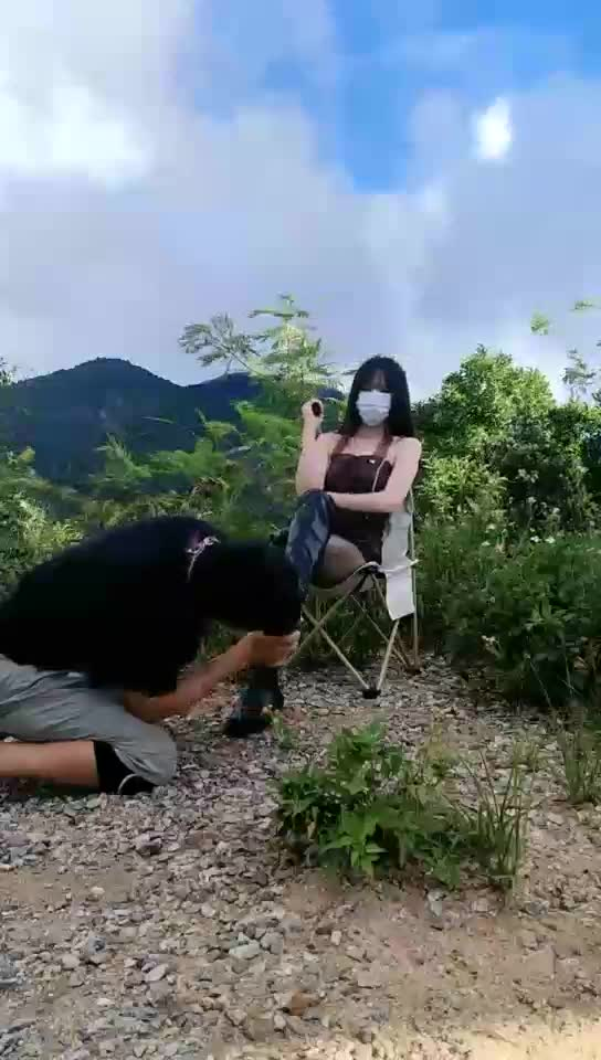 Outdoor dog walking, whipping, boot licking, breast abuse